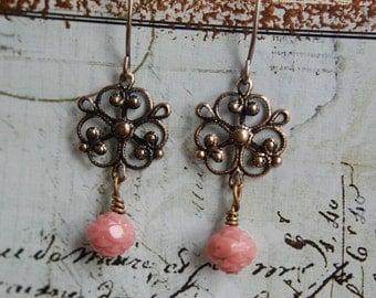 Rose Earrings/ Pink Earrings/ Earrings for Women/ Rose Flower Jewelry/ Filigree Earrings/ Flower Earrings/ Small Earrings/  Dangle Earrings