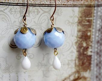 White Tear Drop Earrings - Blue Earrings - Drop Earrings - Light Blue Hanging Earrings - Cute Earrings - Vintage Earrings - Dainty Earrings