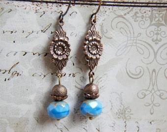 Brass Flower Earrings, Blue Earrings, Floral Earrings, Vintage Style Czech Glass