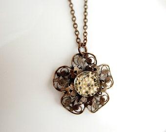 Button Necklace - Creamy White Vintage Glass Button Necklace