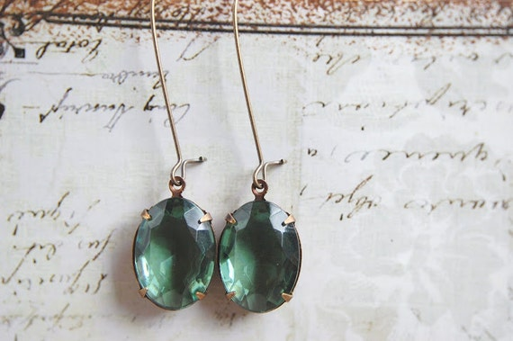 Green Turmaline Vintage Glass Earrings Upcycled Jewelry Repurosed Emerald Vintage Jewel Earrings Antiqued Brass