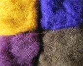 2 oz New Zealand Wool  - 4 Pack - Eggplant, Purple, Brown, Ochre Yellow