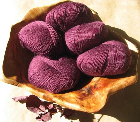 SALE - Wool Blend Yarn - Raspberry Wine