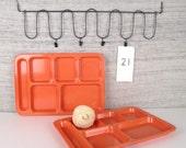 v i n t a g e Large Bright Retro Plastic Peach Cafeteria Trays--Set of 2