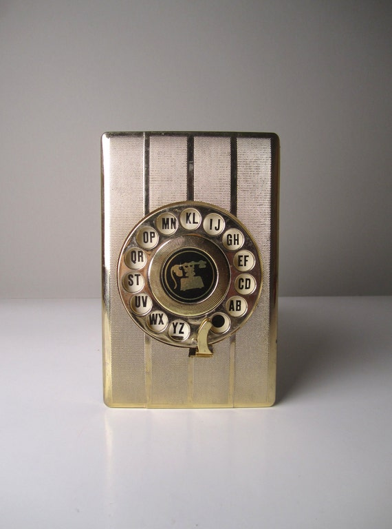 Telephone Number Directory Organizer Keeper Gold Retro Rotary Dial Telephone Address Book