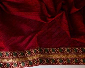 Burgandy Cotton fabric with border - half yard