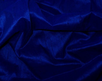 Rich Blue pure Indian Silk Dupioni, Fat Quarter -D 38