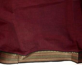 Handloom cotton fabric in Red and Black - one yard Yard  VMC2