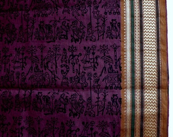 Handloom cotton fabric in purple and Black - One yard