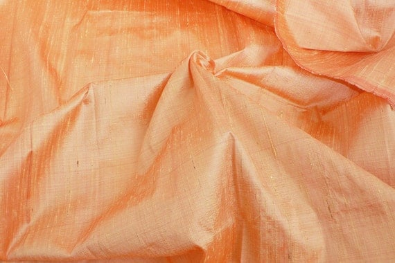 Silk Dupioni Peach-Orange with red shimmers, Fat quarter, D 88