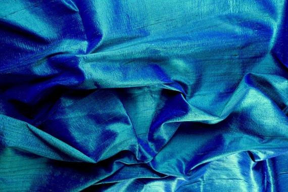 Silk Dupioni in Bondi Blue with bright blue shimmer, Fat quarter-D 96