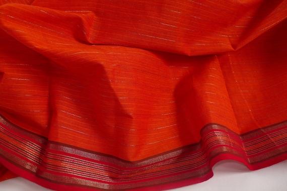 Handloom  Cotton  Fabric in Orange with striped Border ,  MC14