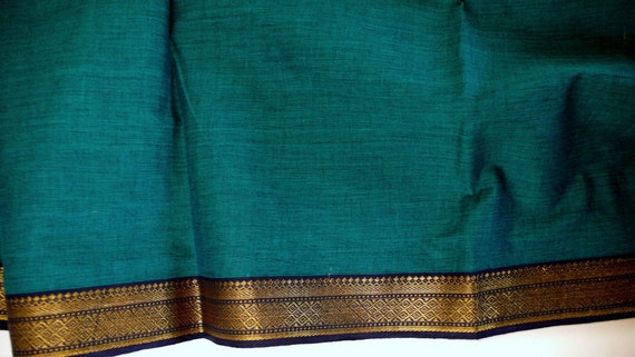 Handloom cotton fabric in Teal and Black - One yard Yard  VMC 3