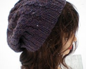 Twisted Stitch Knit Slouchy Hat Beret Tam - Purple Heather Wool
