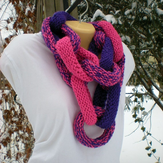 Chain Link Cowl Infinity Scarf - Hot Pink and Grape Chunky
