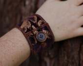 Bracelet with Button - Fabric cuff