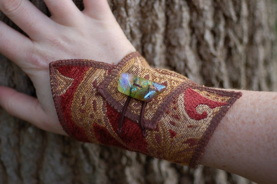 Fabric Cuff Bracelet with Handmade Glass Button