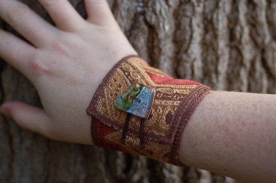 Bracelet with Handmade Glass Button - Fabric cuff