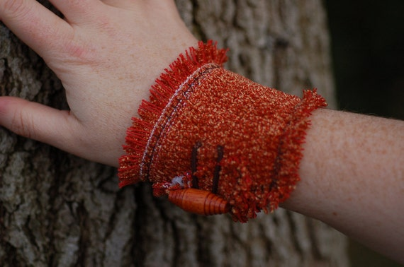 Fabric Cuff Bracelet with Wooden Button