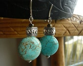 Clip-On Turquoise Earrings - Genuine Stone Jewelry - Turquoise Jewelry - December Birthstone