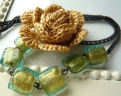 Golden Rose Crochet Necklace - Crocheted Rose Jewelry - Statement Necklace - Hand Crochet - Teal Glass
