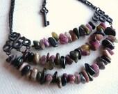 Triple Tourmaline Stone Necklace - Genuine Stone Jewelry - Mauve Pink Gray Green