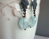 Aquamarine Earrings - Victorian Look Dangle - March Birthstone
