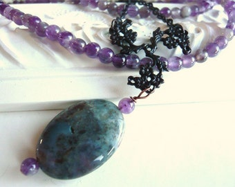 Amethyst and Agate Necklace - Green and Lavender - February Birthstone - Nostalgic - Vintage Look Jewelry