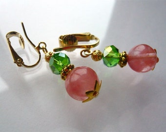 Clip On  Earrings- Cherry Quartz - Pink and Green - Pink Jewelry