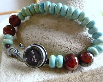 Aqua Plus Sienna Bracelet - Typewriter Key - Vintage Look - Turquoise and Brown - Everyday Jewelry