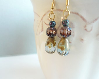 Watercolor Drop Earrings - Gold Picasso - Czech Glass - Vintage Look Jewelry - Gift Under 20