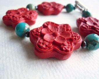 Cinnabar and Jasper - Red Flower Bracelet