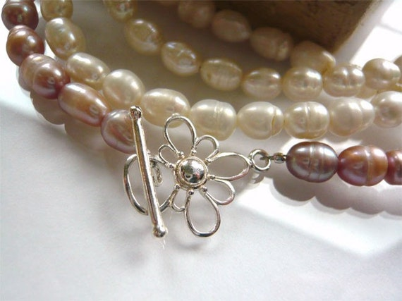 Long Freshwater Pearl Necklace - Mauve and Ivory - Pearl Strand Necklace - Gift For Her - Under 50