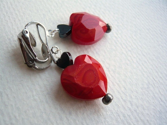 Red Heart Clip On Earrings - Valentine's Day Jewelry - February Fashion - Gift For Her - Under 25