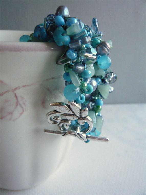 Crocheted Beads Bracelet - Blue As The Ocean Waves