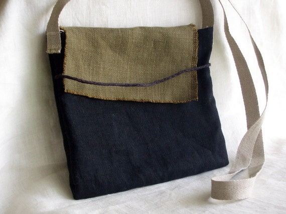 Small Bag  black  brown linen organic cotton