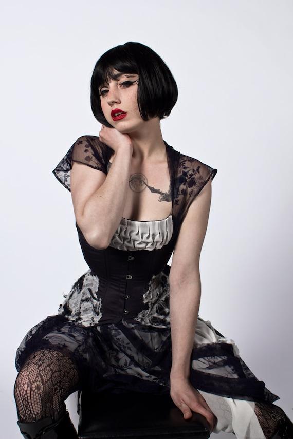 Sacrifice Dress- Black and White Eco Luxury Dress with Vintage Lace