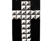 Silver Cross Studded Black Rubber iPhone 4 4s Case Cover