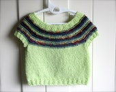 Spring Greens. Hand-Knit Baby Vest Top, with merino & soy fibre, size 0-6 months