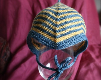 Hand-Knit Homecoming Hat. A First Pixie Hat, Newborn - 3 months size, blue & yellow stripes