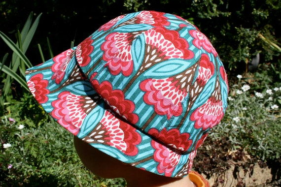 Reversible Sun Hat, size 1-2 years, pink and turquoise