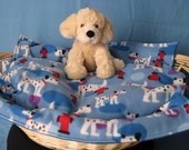 Dalmations and Hydrants Pet Blanket with Striped Pieced Backing