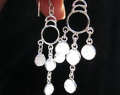 Luminous Long dangle Rainbow Moonstone and .925 Sterling Silver Earrings FREE Priority Shipping