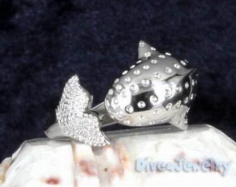 Sterling Silver Whale Ring Size Adjustable 7.5-10
