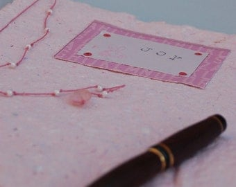 CLEARANCE! Journal-Handmade Paper, Joy, Pink-Clearance