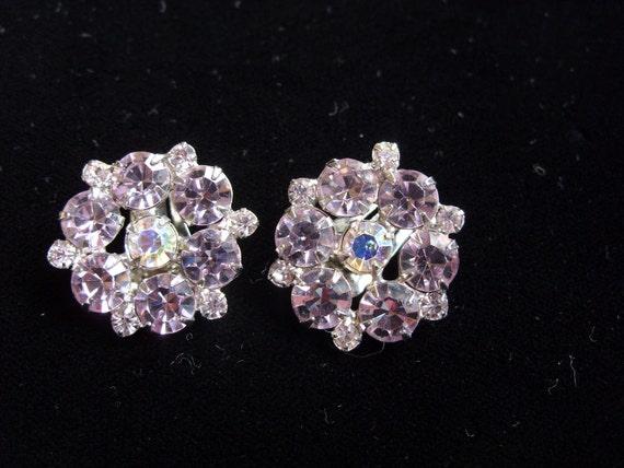 On Hold....Researved....Vintage Weiss Earrings Lavender Rhinestones