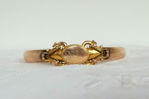Reserve Jany.....Antique Victorian Gold Filled Bracelet Hinged Monogrammed J.M.F. Pat Jun 2 1901