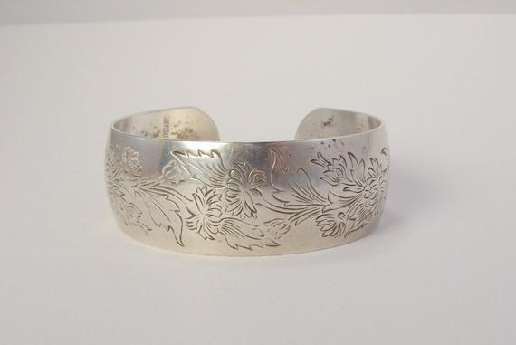 Vintage Sterling Silver S. Kirk & Son Crysanthemum 15-11 Cuff Bracelet Large