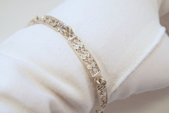 Vintage Silver Filigree Bracelet Marked 800