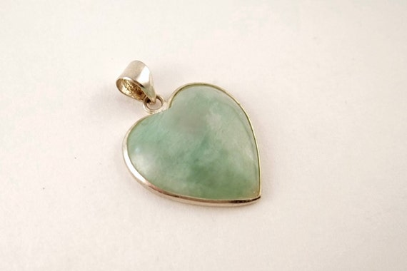Vintage Jade and Sterling Silver Heart Pendant